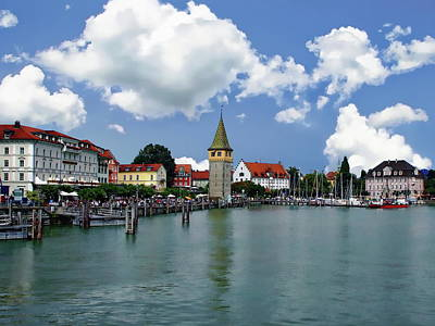 Modern Sophistication Beaches And Waves Royalty Free Images - Lindau Harbor Royalty-Free Image by Anthony Dezenzio