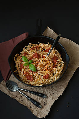 Up Up And Away - Linguine with Basil and Red Sauce in Cast Iron Pan by Erin Cadigan