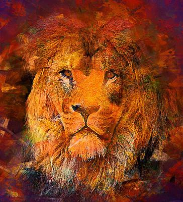 Lion Print by Elena Kosvincheva