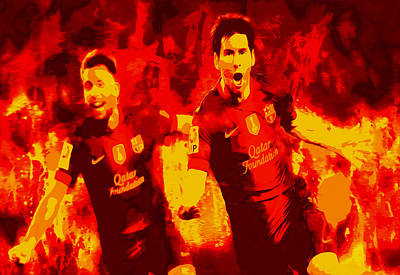 Messi Mixed Media - Lionel Messi And Jordi Alba  by Brian Reaves