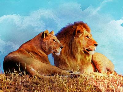 Lioness And Lion Art Print