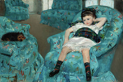 Griffon Wall Art - Painting - Little Girl In A Blue Armchair by Mary Stevenson Cassatt