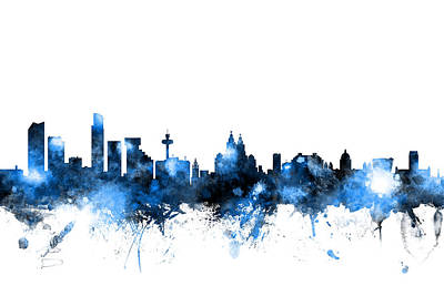 Great Britain Digital Art - Liverpool England Skyline by Michael Tompsett