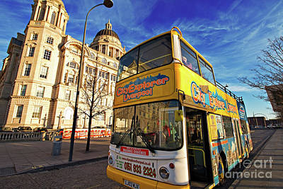 Scouse Photograph - Liverpool Uk, 5th January 2017. Liverpool Sightseeing Bus In Front Of The Liver Buildings. Liverpool Uk by Ken Biggs