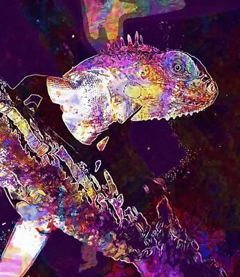 Digital Art - Lizard Reptile Animal Insect Eater  by PixBreak Art