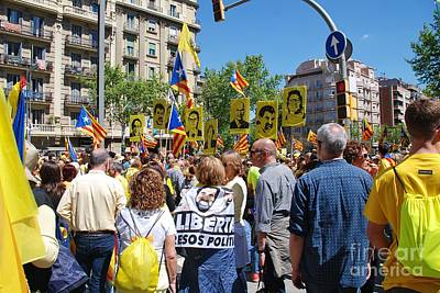 Photograph - Llibertat Presos Politics March In Barcelona by David Fowler