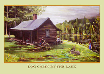 Painting - Log Cabin By The Lake by Nancy Griswold
