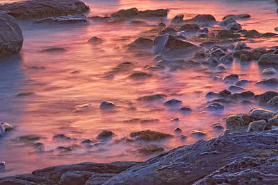 Shark Art - Long Exposure of Colorful Ocean waves at Sunset. by Keith Webber Jr