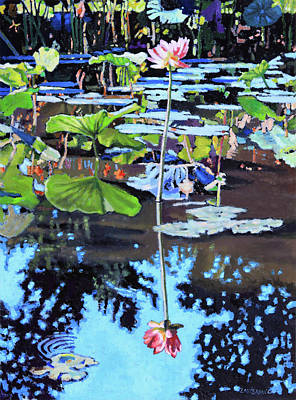 Painting - Lotus Reflections by John Lautermilch