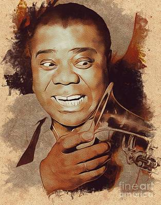 Music Paintings - Louis Armstrong, Music Legend by Esoterica Art Agency