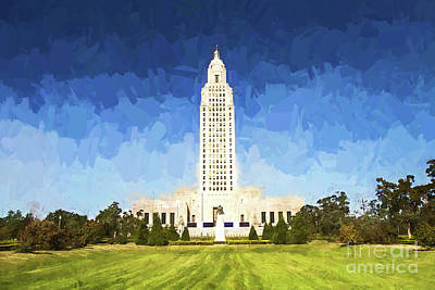 Photograph - Louisiana State Capital - Digital Painting by Scott Pellegrin