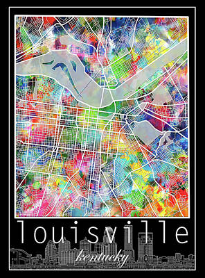 Abstract Skyline Royalty-Free and Rights-Managed Images - Louisville Kentucky City Map 4 by Bekim M