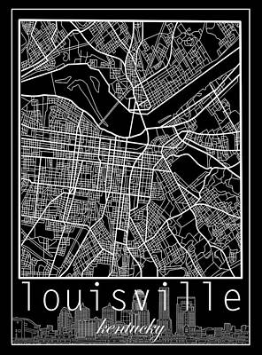 Abstract Skyline Royalty-Free and Rights-Managed Images - Louisville Kentucky City Map 6 by Bekim Art