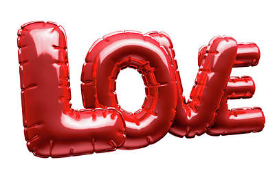 Inflatable Digital Art - Love Inflatable Balloons by Allan Swart