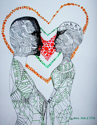 Painting - Love Is A Heart by Gloria Ssali