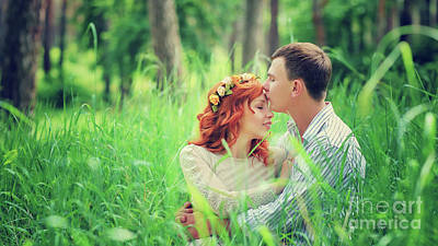 Photograph - Loving Couple In The Forest by Anna Om
