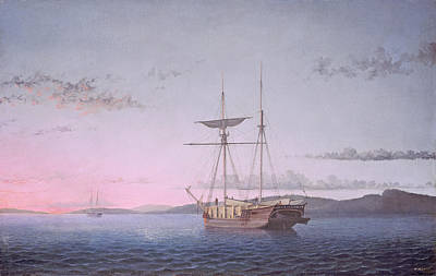 Lumber Schooners At Evening On Penobscot Bay Print by Fitz Henry Lane