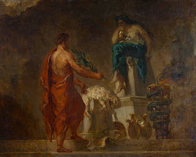 Myths Painting - Lycurgus Consulting The Pythia by Eugene Delacroix