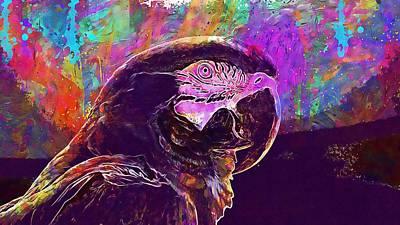Digital Art - Macaw Blue Yellow Bird Beak  by PixBreak Art