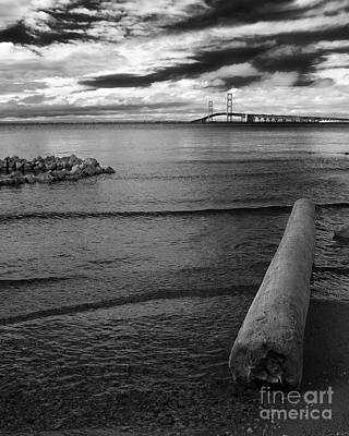 Photograph - Mackinac Bridge - Infrared 01 by Larry Carr