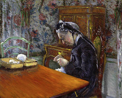 Aged Painting - Mademoiselle Boissiere Knitting by Gustave Caillebotte