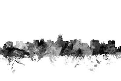 Madison Digital Art - Madison Wisconsin Skyline by Michael Tompsett