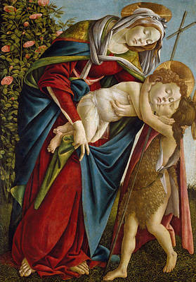 Babe Painting - Madonna And Child And The Young St John The Baptist by Sandro Botticelli