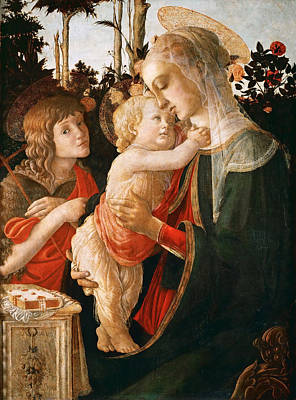 Child Jesus Painting - Madonna And Child With St. John The Baptist by Sandro Botticelli