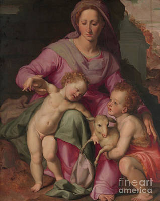 Baptist Painting - Madonna And Child With The Infant Saint John The Baptist by Santi di Tito