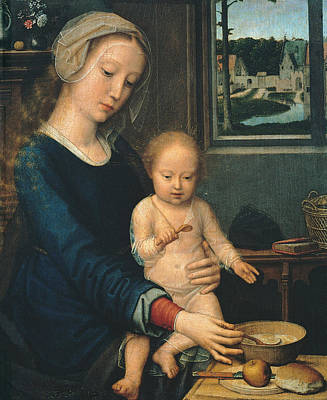 Child Jesus Painting - Madonna And Child With The Milk Soup by Gerard David