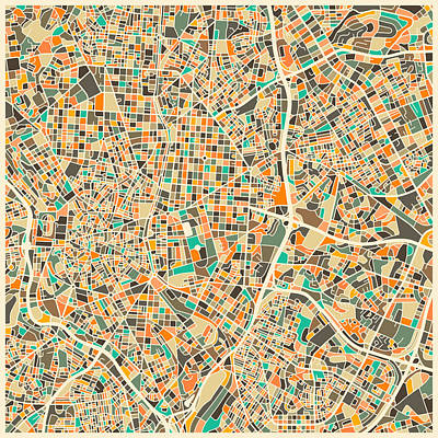 Spanish Art Digital Art - Madrid Map by Jazzberry Blue