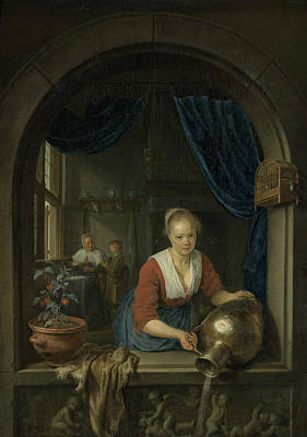 Painting - Maid At The Window by Gerrit Dou