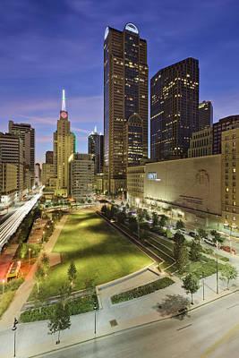Main Street Garden Park In Downtown Dallas Print by Jeremy Woodhouse