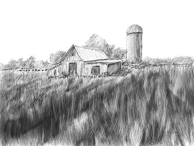 Drawing - Making Hay by Barry Jones