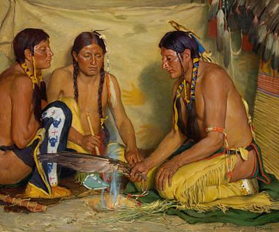 Painting - Making Sweet Grass Medicine, Blackfoot Ceremony by Joseph Henry Sharp