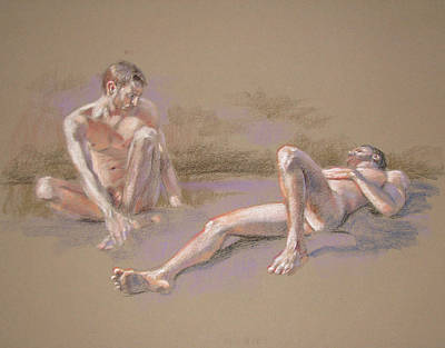Pastel - 2 Male Nudes by Christopher Reid