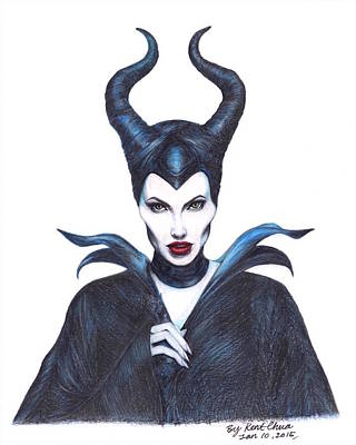 Fine Art Drawing - Maleficent  Once Upon A Dream by Kent Chua