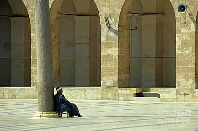 Man Sitting Inside The Great Mosque Of Aleppo Art Print