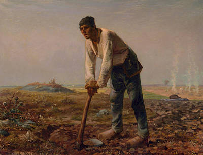 Worker Painting - Man With A Hoe by Jean Francois Millet