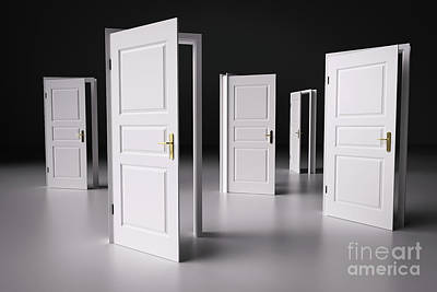 Door Photograph - Many Ways To Choose From, Open Doors. Decision Making by Michal Bednarek
