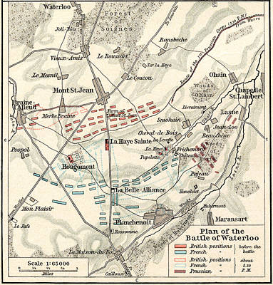 Duke Drawing - Map Of The Battle Of Waterloo by English School