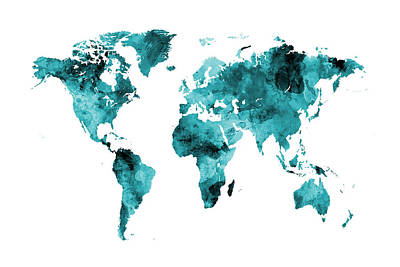 Planet Digital Art - Map Of The World Map Watercolor by Michael Tompsett