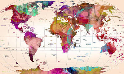 Geography Painting - Map Of The World   by Mark Ashkenazi