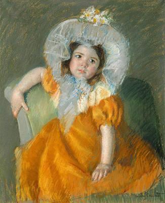 Pastel - Margot In Orange Dress by Mary Cassatt
