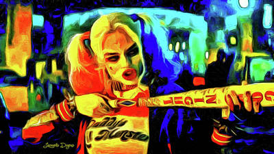 Baseball Painting - Margot Robbie Playing Harley Quinn - Van Gogh Style by Leonardo Digenio