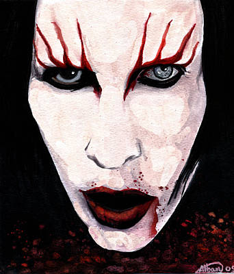 Scary Mixed Media - Marilyn Manson Portrait by Alban Dizdari