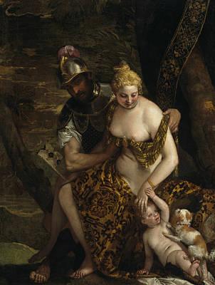 Goddess Mythology Painting - Mars, Venus And Cupid by Paolo Veronese