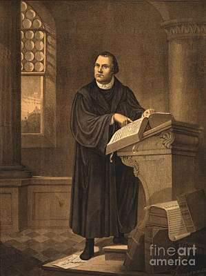 Anti German Photograph - Martin Luther, German Theologian by Photo Researchers