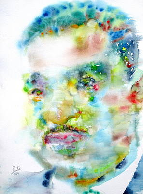 Martin Luther King Jr. - Watercolor Portrait Art Print by Fabrizio Cassetta