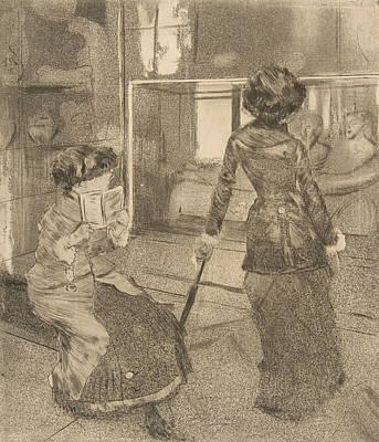 Relief - Mary Cassatt At The Louvre by Edgar Degas
